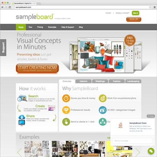 website picture SampleBoard.com domain reviews